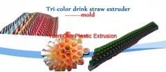 Tri-color drink straw extruder